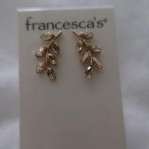Francesca's Leaf Earring, Crawler Type Gold Tone
